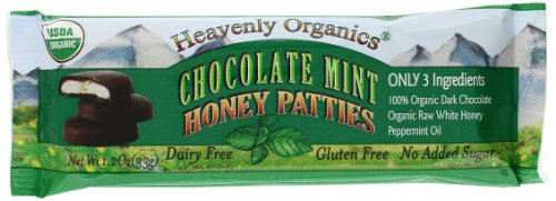 Heavenly Organics Raw Honey Chocolate Pattie, Mint, 1.2 Ounce (Pack of 16)