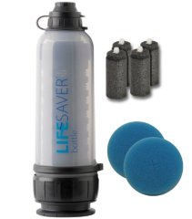 Lifesaver Bottle 6000 Ultra Filtration Water Bottle with Activated Carbon Inserts (4pk) and Pre-filter disk(2pk)