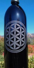 Flower of Life Miron Violet GlassEtched Bottle